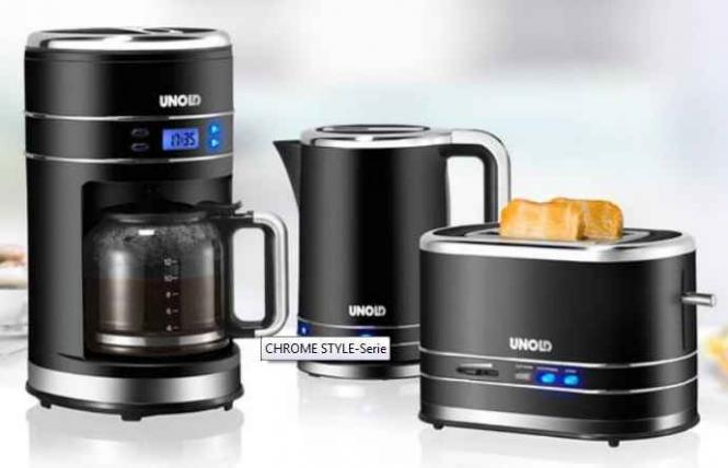 Unold Set Kaffeemaschine Toaster Wasserkocher Chrome Style